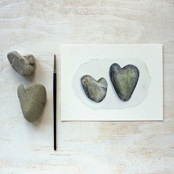 Two Heart Rocks - Watercolor painting by Kathleen Maunder - Prints available at Trowel and Paintbrush
