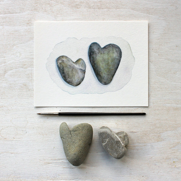 Watercolor painting of heart stones by Kathleen Maunder - Art prints available at Trowel and Paintbrush
