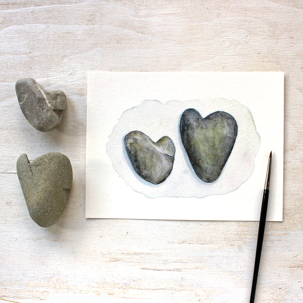 Heart Rocks watercolour painting by Kathleen Maunder - Available as an art print at Trowel and Paintbrush