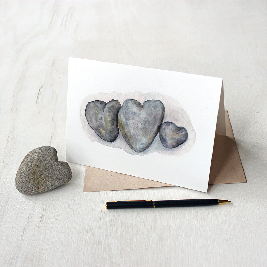 Heart Rocks Watercolor Note Cards by Kathleen Maunder of Trowel and Paintbrush