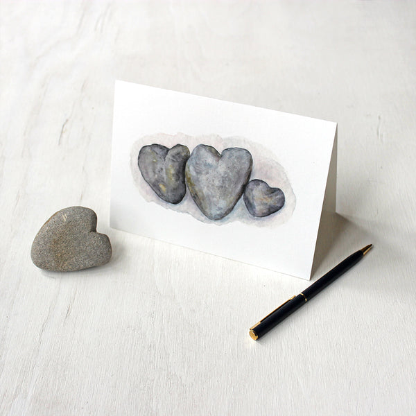 Heart Rocks Note Cards featuring a watercolor painting by Kathleen Maunder of Trowel and Paintbrush