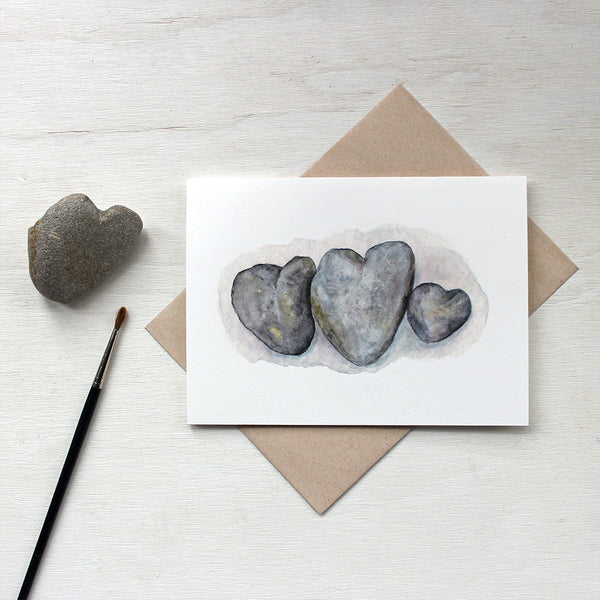 Heart Rocks Watercolour Note Cards by Kathleen Maunder of Trowel and Paintbrush