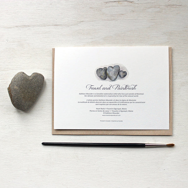 Back of Heart Rock Watercolor Note Cards with artist bio