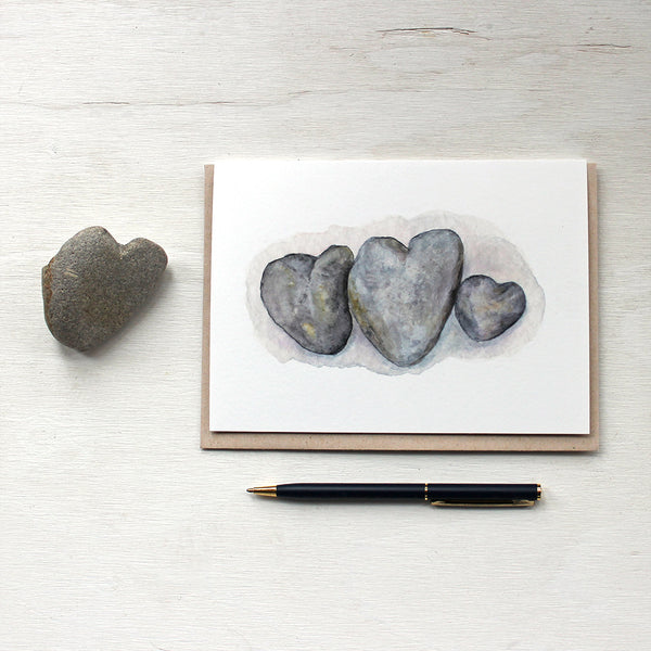Watercolor note cards featuring a painting of heart stones by Kathleen Maunder