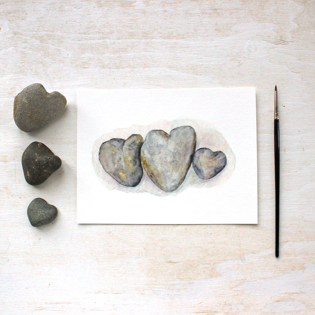Heart Rocks Watercolor Print by Kathleen Maunder, Trowel and Paintbrush