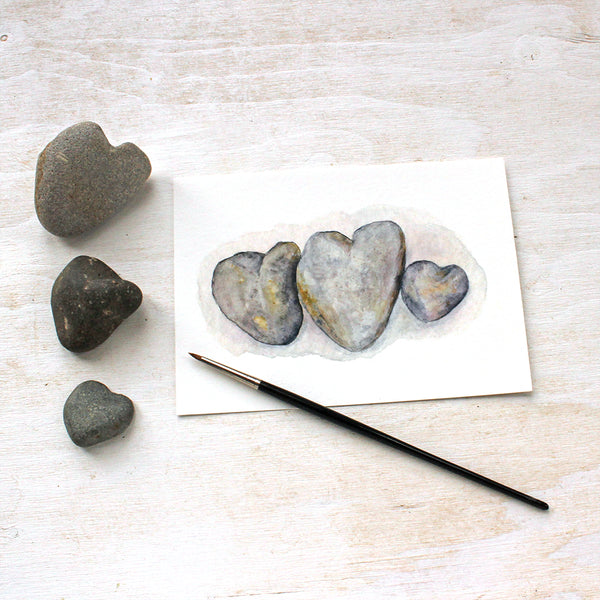 Heart Rocks Watercolor Print by Kathleen Maunder of Trowel and Paintbrush
