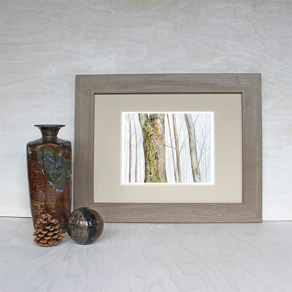Sample framed Heart Tree watercolor print by Kathleen Maunder of Trowel and Paintbrush