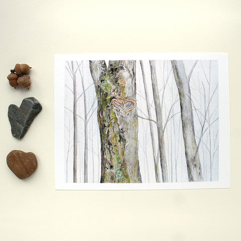Heart Tree Watercolor Print by Kathleen Maunder of Trowel and Paintbrush