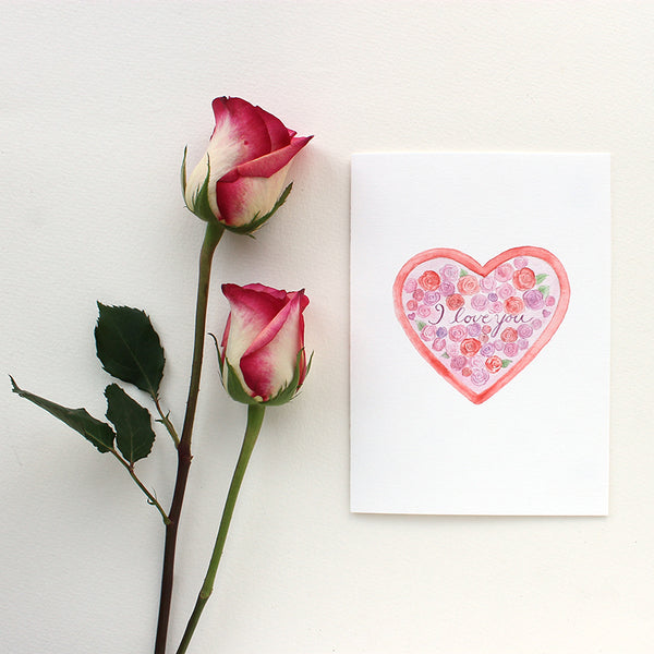 Heart and Roses card that says 'I love you' by Kathleen Maunder of Trowel and Paintbrush