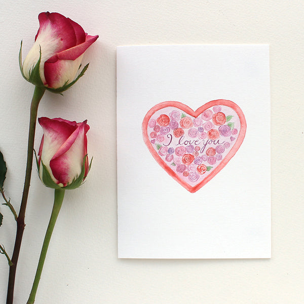 Watercolor heart and roses card by Kathleen Maunder