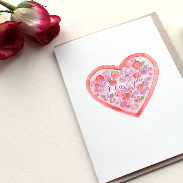 Heart and Roses note card by watercolor artist Kathleen Maunder
