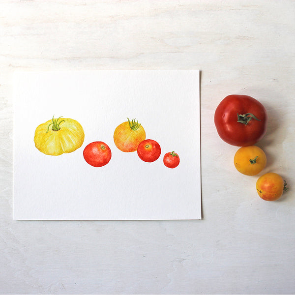 Yellow and red heirloom tomatoes painted in watercolor by artist Kathleen Maunder. Available as print.