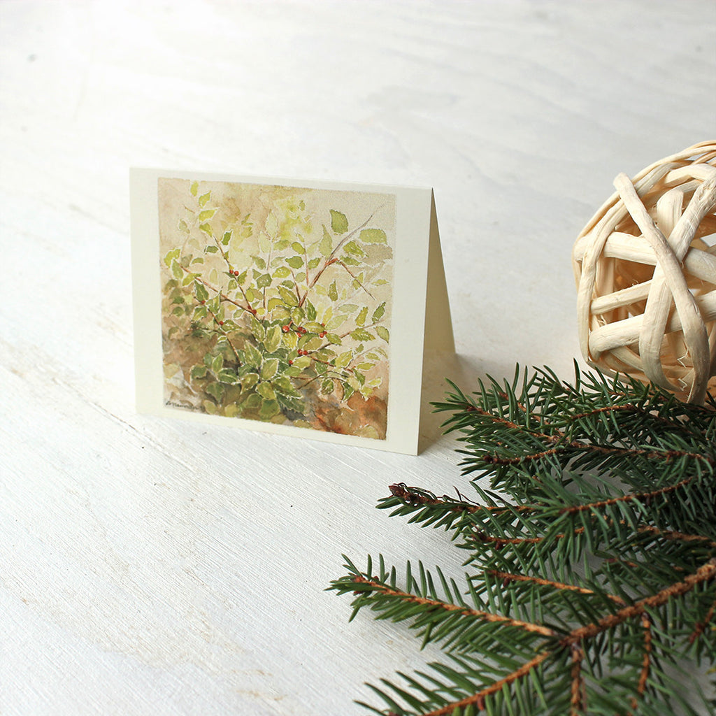 Holly gift tag featuring watercolor by Kathleen Maunder, trowelandpaintbrush.com