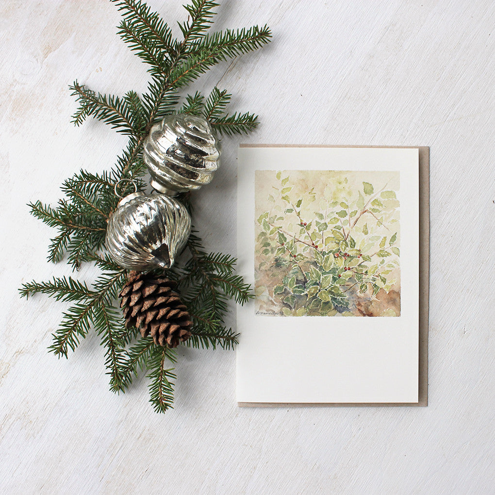 Holly Watercolor - Holiday Cards by Kathleen Maunder, Trowel and Paintbrush