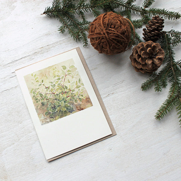 Holly Holiday Cards by watercolor artist Kathleen Maunder, Trowel and Paintbrush