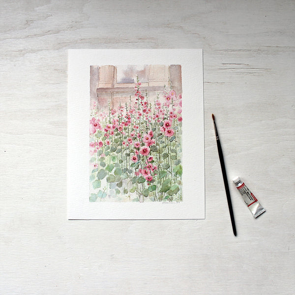 Pink hollyhocks painted by watercolour artist Kathleen Maunder. Available as 8x10 print.