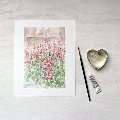 Hollyhocks art print based on an original watercolor by artist Kathleen Maunder.