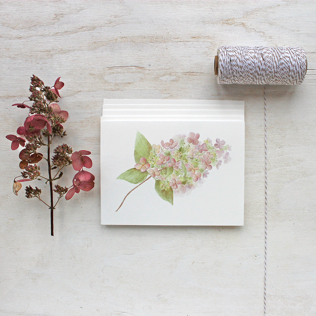 Hydrangea note cards by watercolor artist Kathleen Maunder of Trowel and Paintbrush