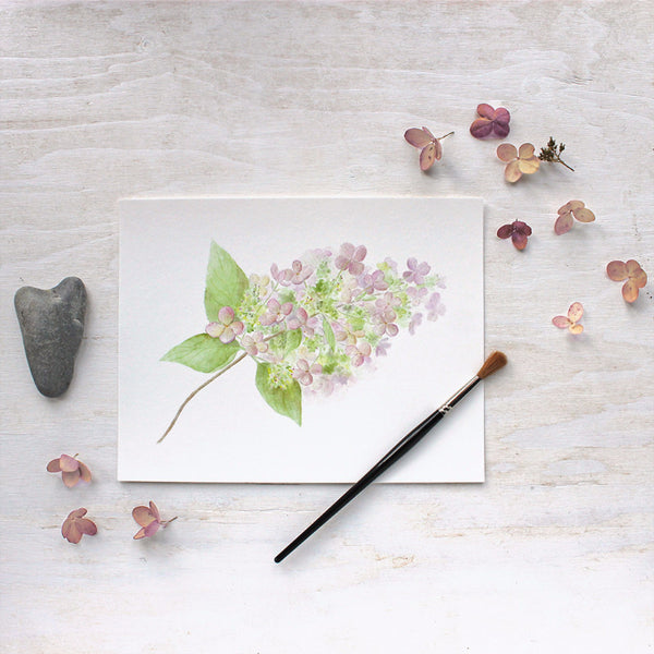 Hydrangea print by watercolor artist Kathleen Maunder of Trowel and Paintbrush