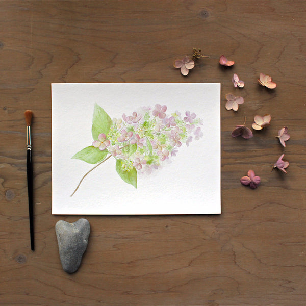 Hydrangea print by watercolour artist Kathleen Maunder of Trowel and Paintbrush