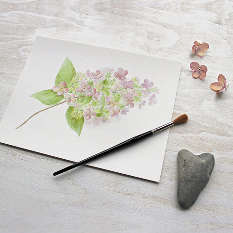 Watercolor print of hydrangeas by Kathleen Maunder of Trowel and Paintbrush