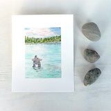 Lake Watercolor Print: Inuksuk
