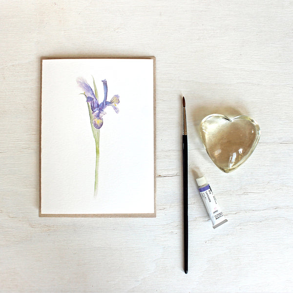 Note card featuring watercolour painting of a Siberian iris. Artist Kathleen Maunder.