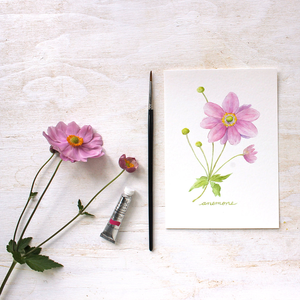 Japanese Anemone Watercolor Print Trowel And Paintbrush