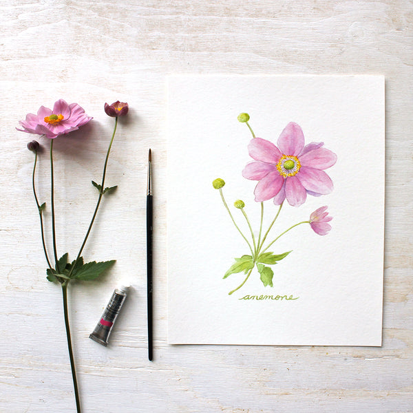 Japanese Anemone Watercolor Print
