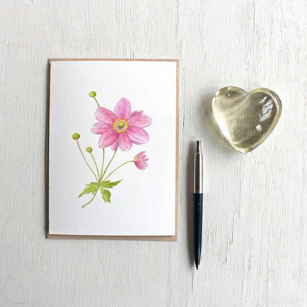 Note card featuring watercolor painting of pink Japanese anemone stem. Artist Kathleen Maunder.