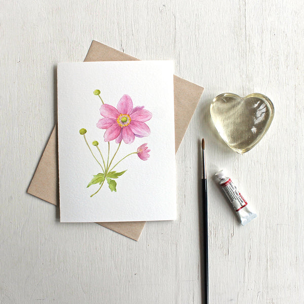 Pink Japanese anemone flower stem on note card. Watercolor artist Kathleen Maunder.