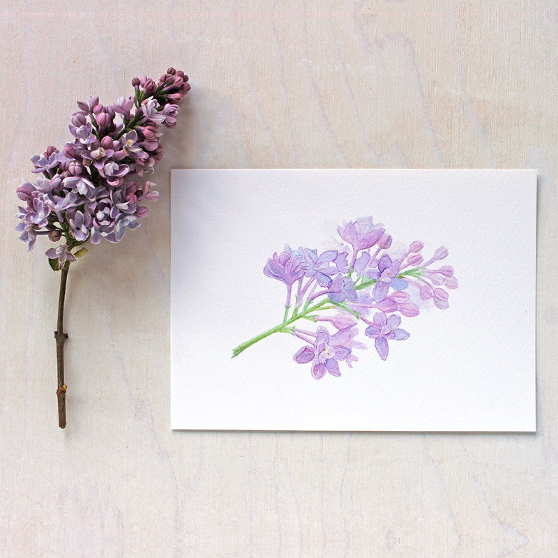 Lilac sprig watercolor print by artist Kathleen Maunder of Trowel and Paintbrush