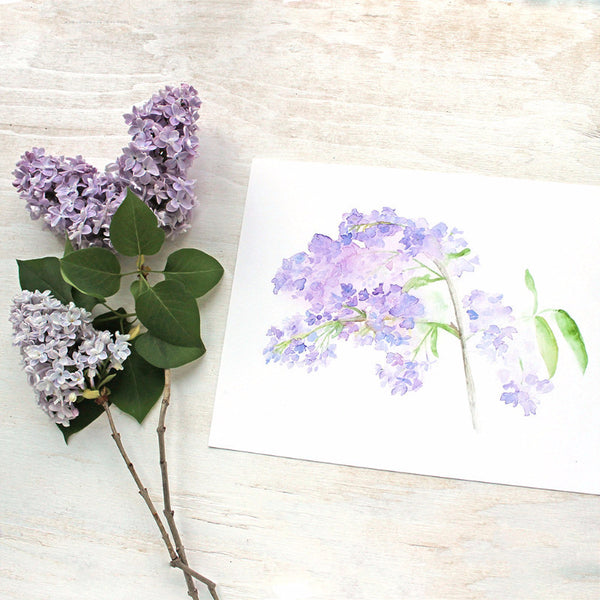 Lilac watercolour print by artist Kathleen Maunder of Trowel and Paintbrush