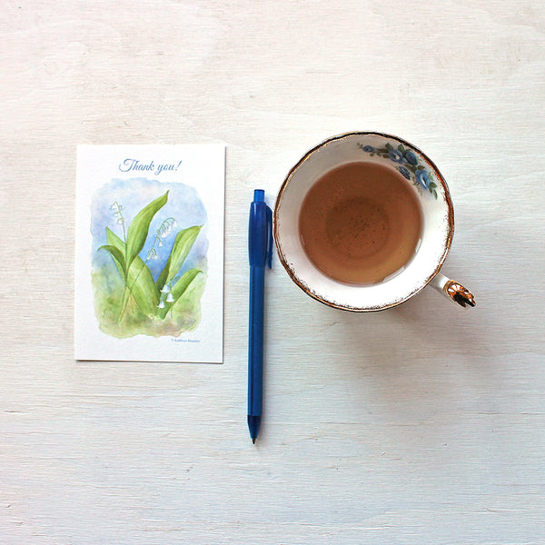 Lily of the valley thank you note card by watercolor artist Kathleen Maunder