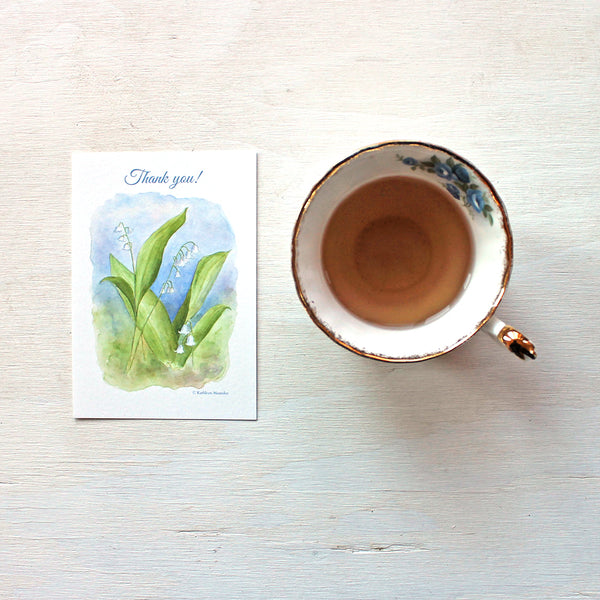 Lily of the valley thank you note by watercolour artist Kathleen Maunder