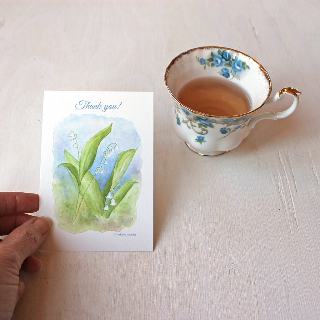 Lily of the valley watercolor thank you notes by artist Kathleen Maunder