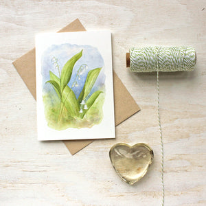 Lily of the valley watercolor note cards by Kathleen Maunder