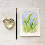 Lily of the valley art print by watercolour artist Kathleen Maunder of Trowel and Paintbrush