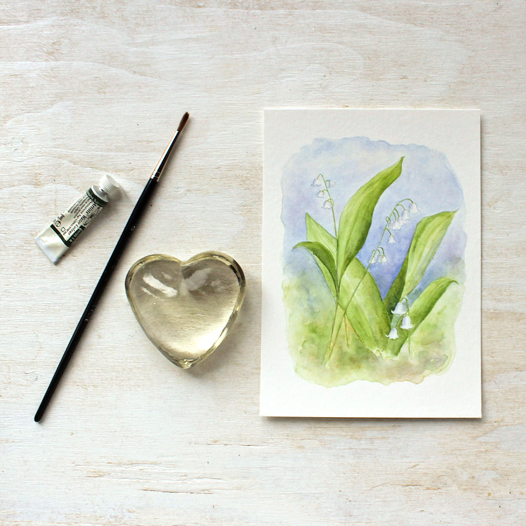 Lily of the valley watercolor painting by Kathleen Maunder - Art prints available at Trowel and Paintbrush