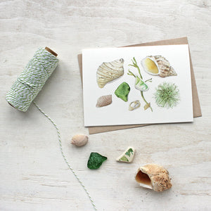 Five lovely note cards featuring a watercolor I did of beach treasures gathered one summer in Jonesport, Maine: shells, sea glass, seaweed and a pottery shard.