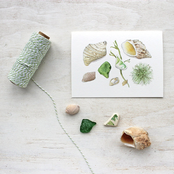 Beach finds note cards by watercolor artist Kathleen Maunder of Trowel and Paintbrush