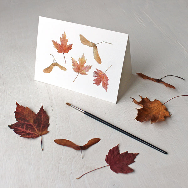 Note Cards featuring maple leaves and samaras - watercolor by Kathleen Maunder