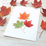 Maples leaves print by watercolor artist Kathleen Maunder, trowelandpaintbrush