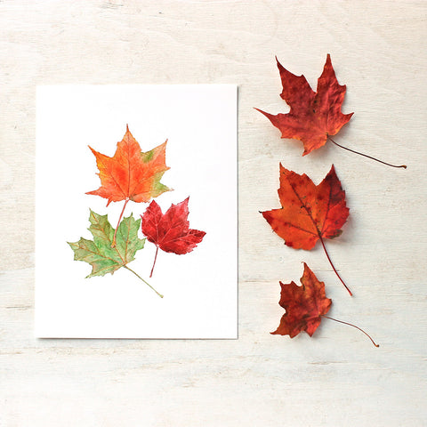 Maple Leaves Watercolor Print