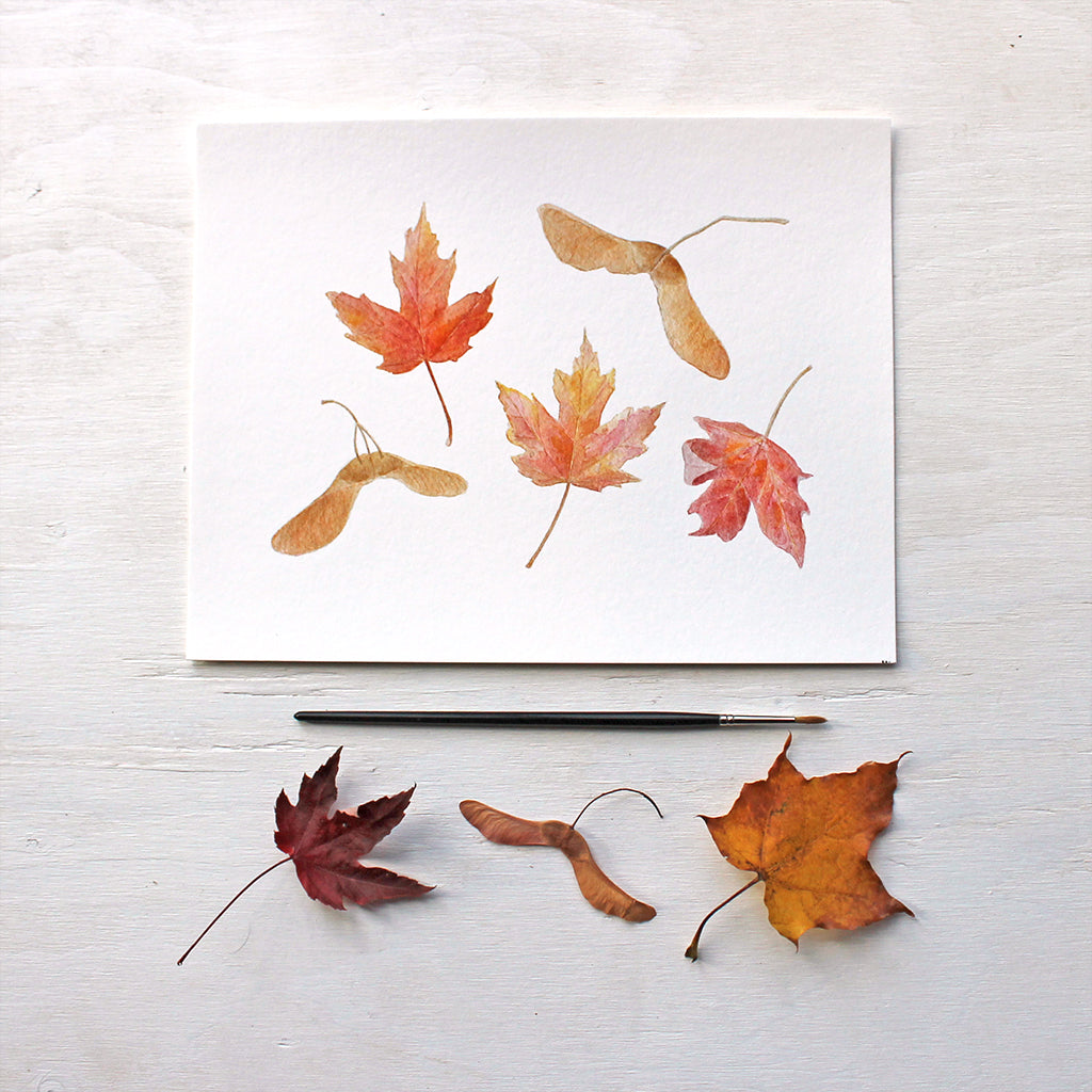 Maples Leaves and Keys - Autumn Watercolor Print by Kathleen Maunder