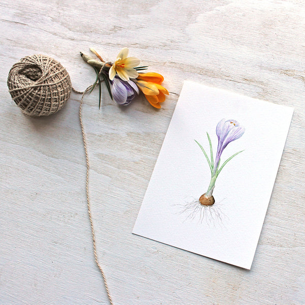 Purple crocus watercolour print by artist Kathleen Maunder, Trowel and Paintbrush