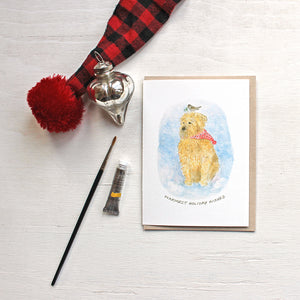 Meeko and the Mistletoe - Dog holiday cards featuring a watercolor by Kathleen Maunder