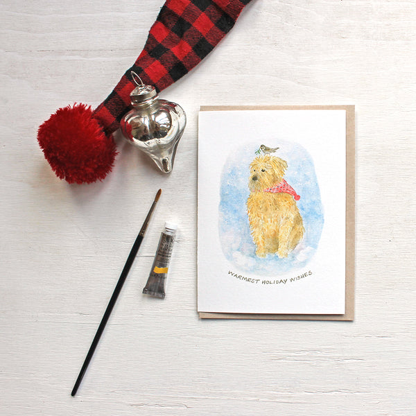 A dog, sparrow and mistletoe - Wheaten terrier holiday cards featuring a watercolor by Kathleen Maunder