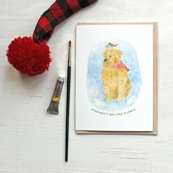 Meeko and the Mistletoe - Dog Christmas cards featuring a watercolour by Kathleen Maunder