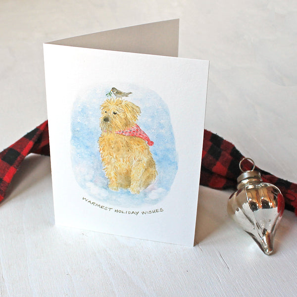 Dog Christmas Cards - Featuring a watercolor painting of a wheaten terrier by Kathleen Maunder